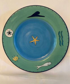 KIC Brushes Hand Painted Teal Blue Ocean Animals Waves Salad Plates Used