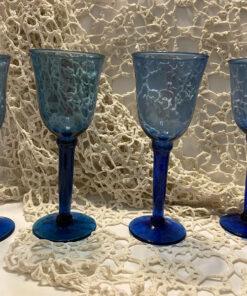 Cobalt Blue Hand Blown Long Stemmed Glasses Used
