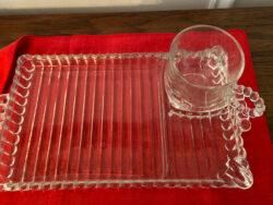 Hazel Atlas Vintage 1940s Ball Ribbed snack plates & cups