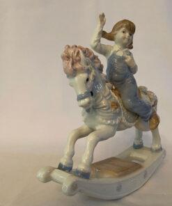 Paul Sebastian 191 Girl on Rocking Horse Porcelain By Meico