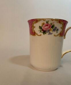 Royal Albert Lady Carlyle bone china beaker mug pink white