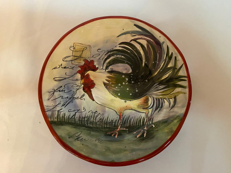 Susan Winget Le Rooster Yellow Rooster Salad Dessert Plates