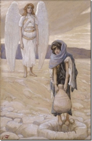 "The painting ""Hagar and the Angel in the Desert"" by James Tissot (circa 1902), public domain"