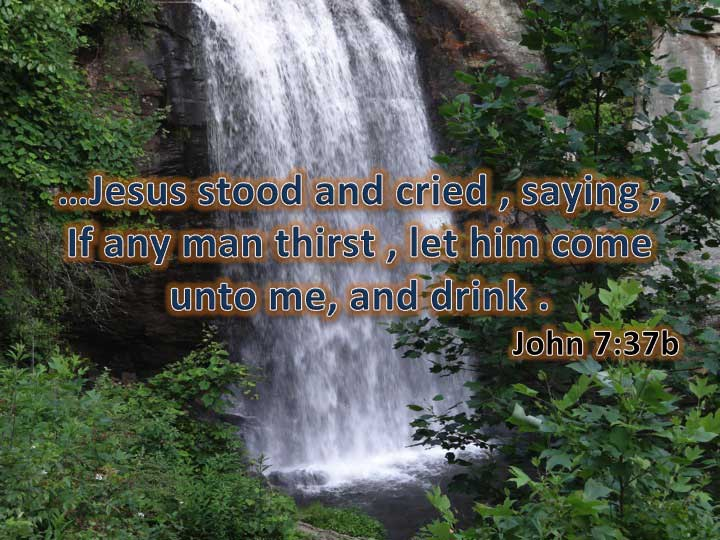 "Jesus stood and said in a loud voice, ""Let anyone who is thirsty come to me and drink."