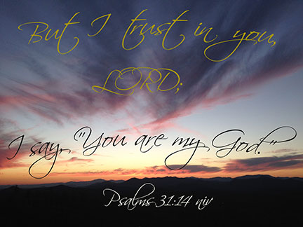 "But I trust in you, LORD; I say, ""You are my God."" Psalms 31:14 NIV"