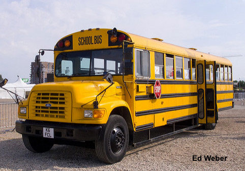 School bus. Don't forget to pray for teachers, students, children when you see a bright yellow school bus.